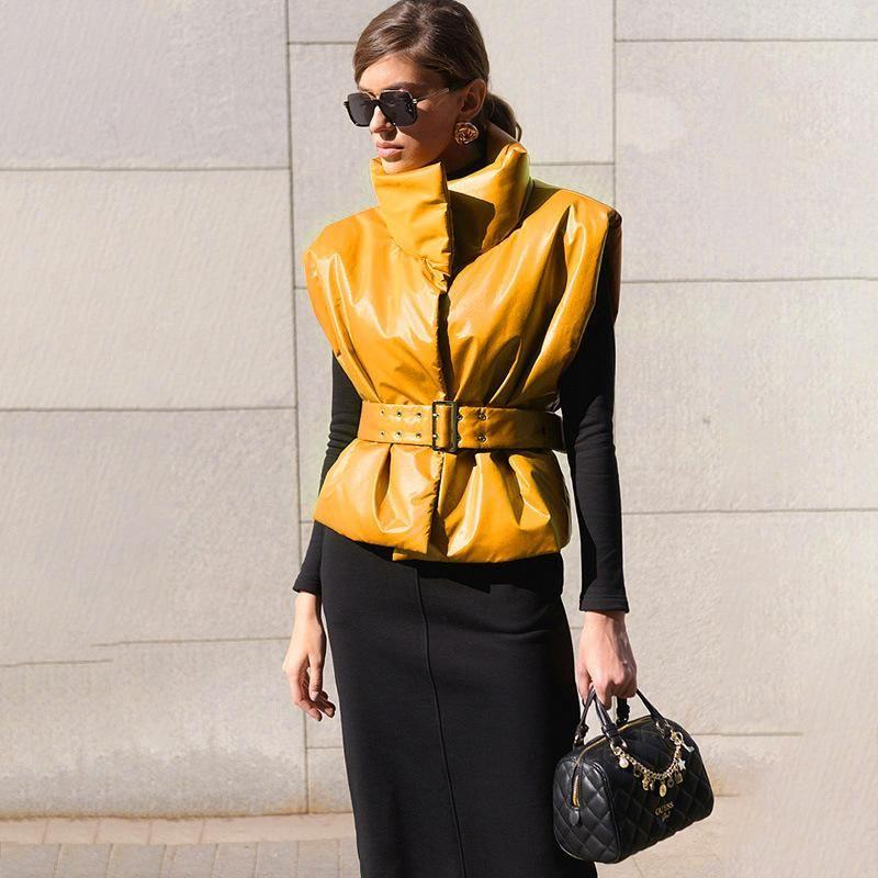 Wintergürtel Weste Feste Farbe Stand-up Kragen Leder Taille Weste Jacke Frauen Europäische und amerikanische einfache All-Match-Jacke