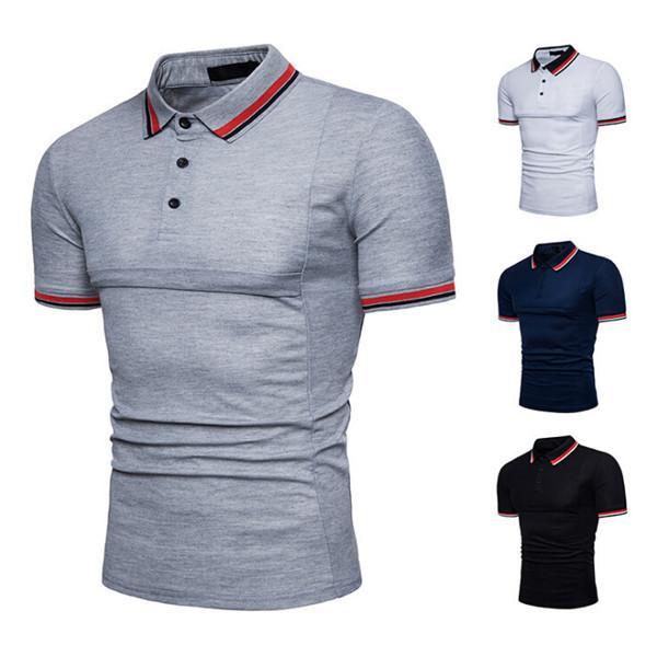Mens Striped Shirt Slim Fit Short Sleeve Summer Casual T Shirt Free Shipping Business Tops fz2853
