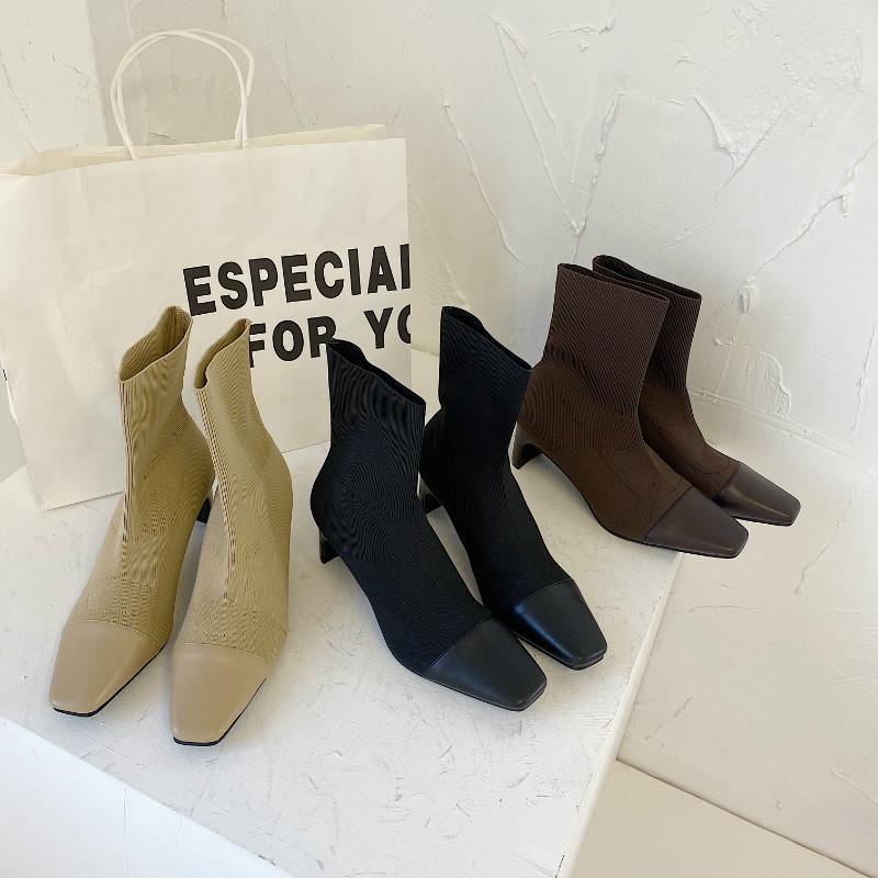 DXFAN Patchwork Stretch Stricken Socken Stiefel Frauen-Weinlese-quadratische Zehe-Knöchel-Aufladungen für Frauen-festes High Heel Socke