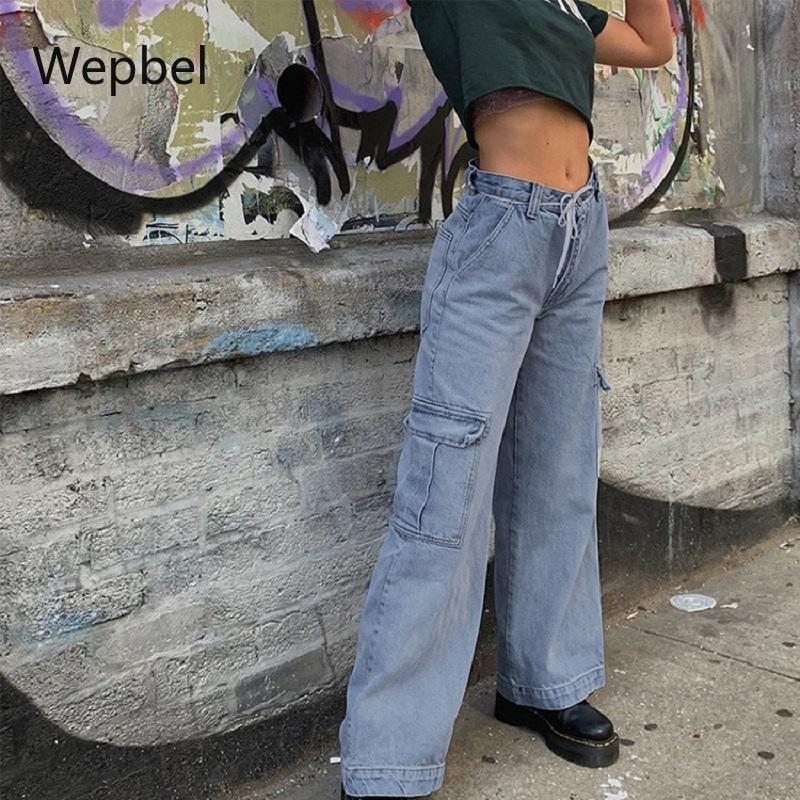 WEPBEL pierna ancha pantalones vaqueros de los pantalones de dril de algodón más el tamaño de los pantalones de las mujeres atractivas babero general de cintura alta moda casual de mezclilla