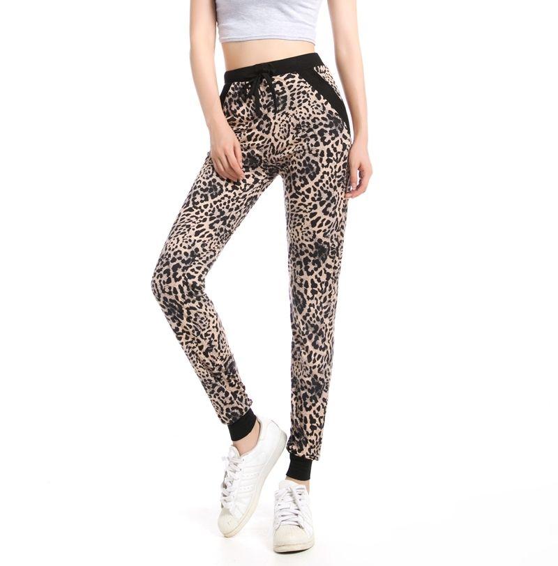 Rylinguage Nuovo Arrivo Girls Leopard Pant Pant Jogger Donne Pantalone per caviglia con tasca con coulisse American Ordinal Order 201016