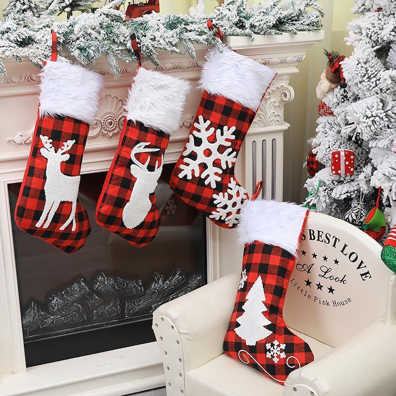 عيد الميلاد منقوش طباعة الجورب جوارب أحمر أسود منقوش كاندي حقائب هدية عيد الميلاد شجرة شنقا زخرفة السنة الجديدة شجرة عيد الميلاد ديكور BWA1744