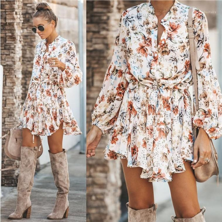 2019 Automne Sexy Impression Bouton Bouton Dress Femme1