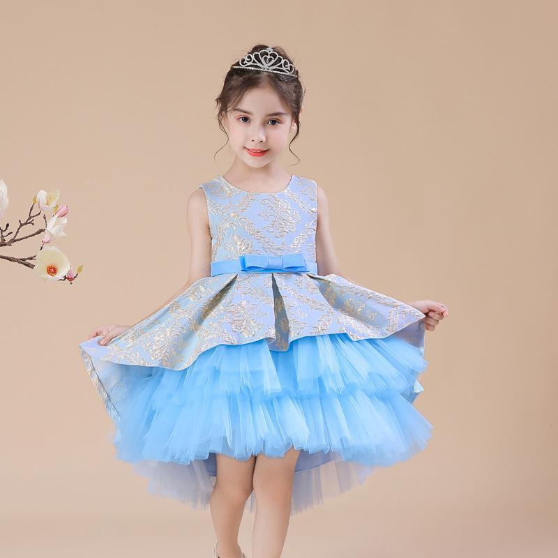Las muchachas del vestido del bordado de la vendimia de flores ceremonia de apertura del partido tutú ropa elegante llevar las princesa Dress Vestidos Niños