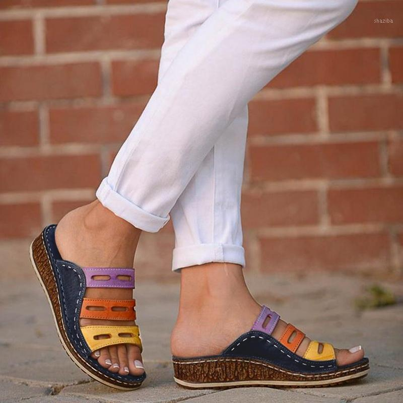 2020 Pantoufles d'été Femmes Sandales Sandales Couture Sandales Dames Open Toe Open Toe Chaussures Décontractées Plate-forme Coin Diaposiches Chaussures de plage Dropshipping1