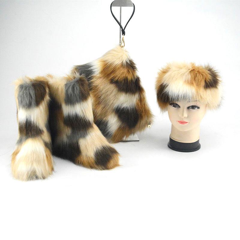 Winter Frauen Fur Boots Fluffy Fell Schneestiefel Fraufaux Pelz Stiefel Mode Plüsch Schuhe Luxuxdamen Taschen Stirnband Portemonnaie Set