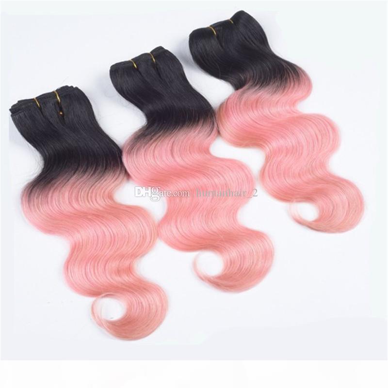 Tissu de cheveux humains roses avec fermeture en dentelle 4 * 4 nœuds blanchis avec des bundles deux tons 1B rose ombre ondes de corps de corps avec frontale