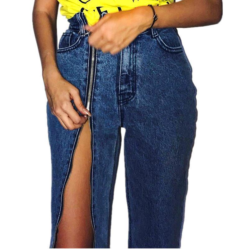 Split Zipper Jeans a vita alta Donne sexy vintage denim gamba larga Pantaloni Moda Donna pantaloni allentati Jeans Capris