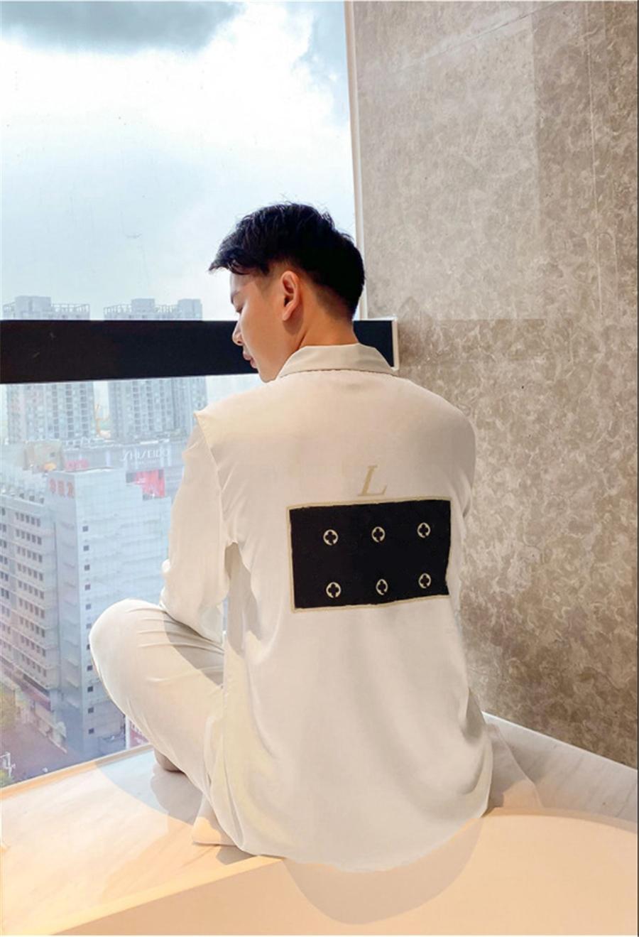 INS I Silk Pajamas 2021 New Sleepwear Winter Wite Long Sleeve Silk Mens Ome Pajamas Couples #200#43000000