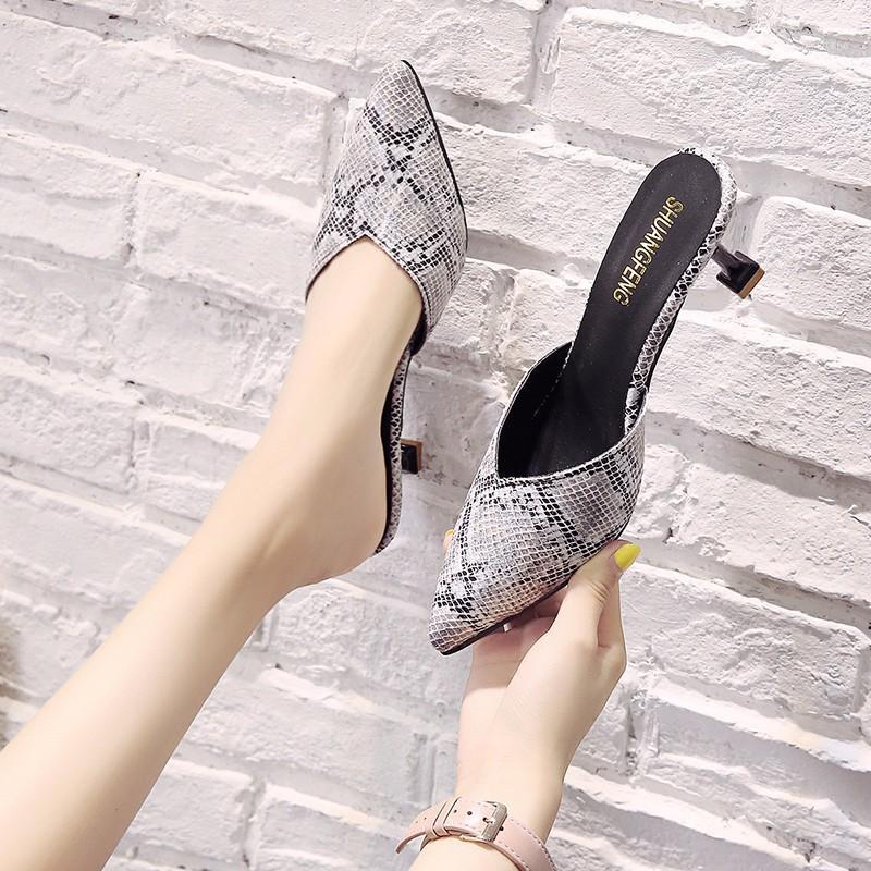 2020 New Snake Pattern Wedding Party Shoes for Women High Heels Sandals Thin Heels Slingback Pumps Women Shoes Summer Womne Shoe1