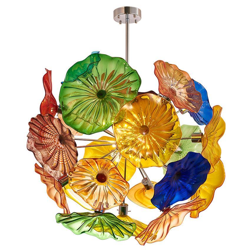 Kolye Lambaları Çok Renkli Şık Üflemeli Cam Plaka Avize Işıkları Dekoratif Tavan Avizeler Kolye Lamba Modern Asılı LED Aydınlatma