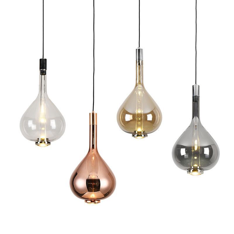 تعليق الحديثة زجاج بقيادة مصباح قلادة الحد الأدنى فن الزجاج قطرة ضوء قلادة على مطعم غرفة الطعام الشمال ضوء قلادة