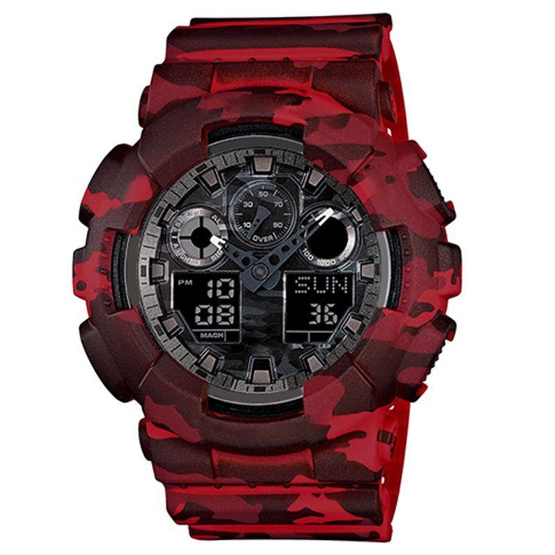 새로운 디지털 LED 남자의 석영 스포츠 시계 벨트 고무 군사 다기능 석영 시계 방수 손목 선물 상자 자동 빛