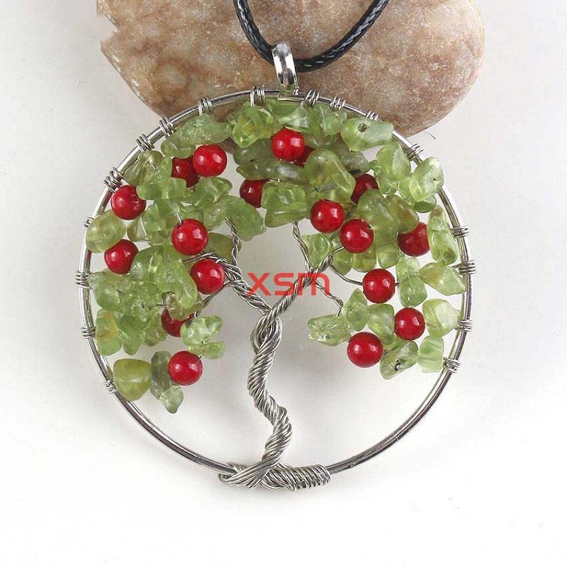 Collar llamativo, plateado, natural, multi estilo, grava, alambre, enrollado, búho, árbol de la vida, colgante