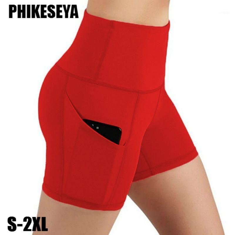 Women Gym Shorts Yoga High Waist Lifting Push Up Tight Sports Leggings + Phone Pocket Jogging Running Fitness Yoga Short Pant1