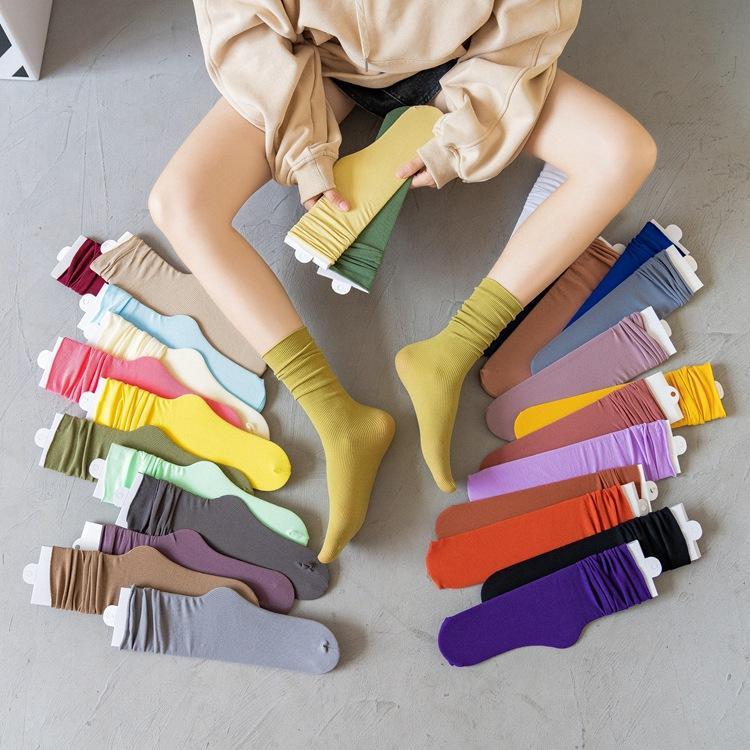 Bayan çorapları kıvırma çorap Japon çorap Buz Kız tüp çorap JK sonbahar yeni şeker renkli kadife kazıkları