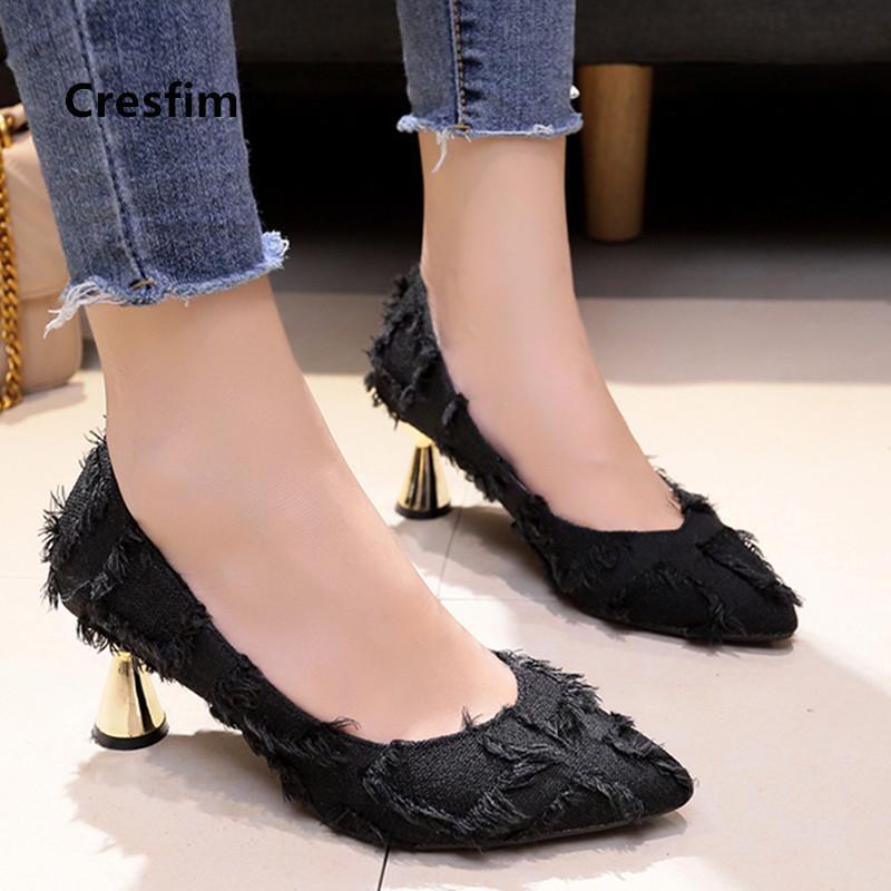 Cresfimix Zapatos Dama Mulheres Clássico Escritório de Alta Qualidade Preto Saltos Altos para Escritório Senhoras Casuais Bombas Azul Stiletto C5797