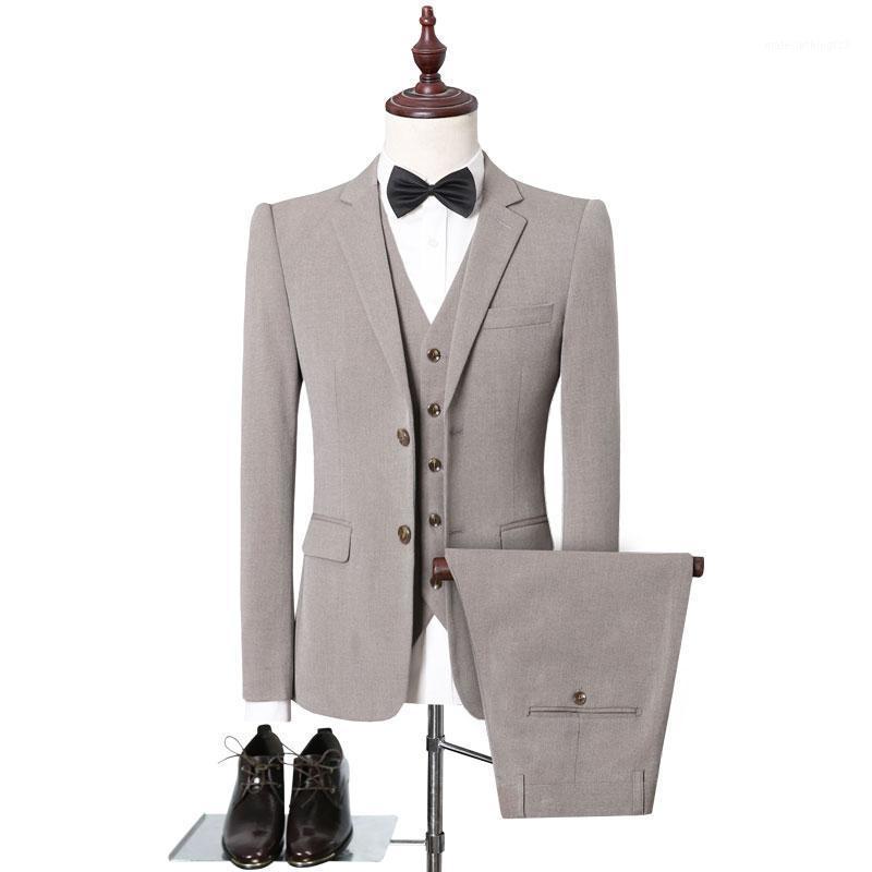 Trajes para hombres Blazers Color Puro Hombres Traje formal Slim Design Chaqueta y Pantalón con chaleco Tamaño asiático XXL 4xl 5xl Suits de boda de alta calidad1