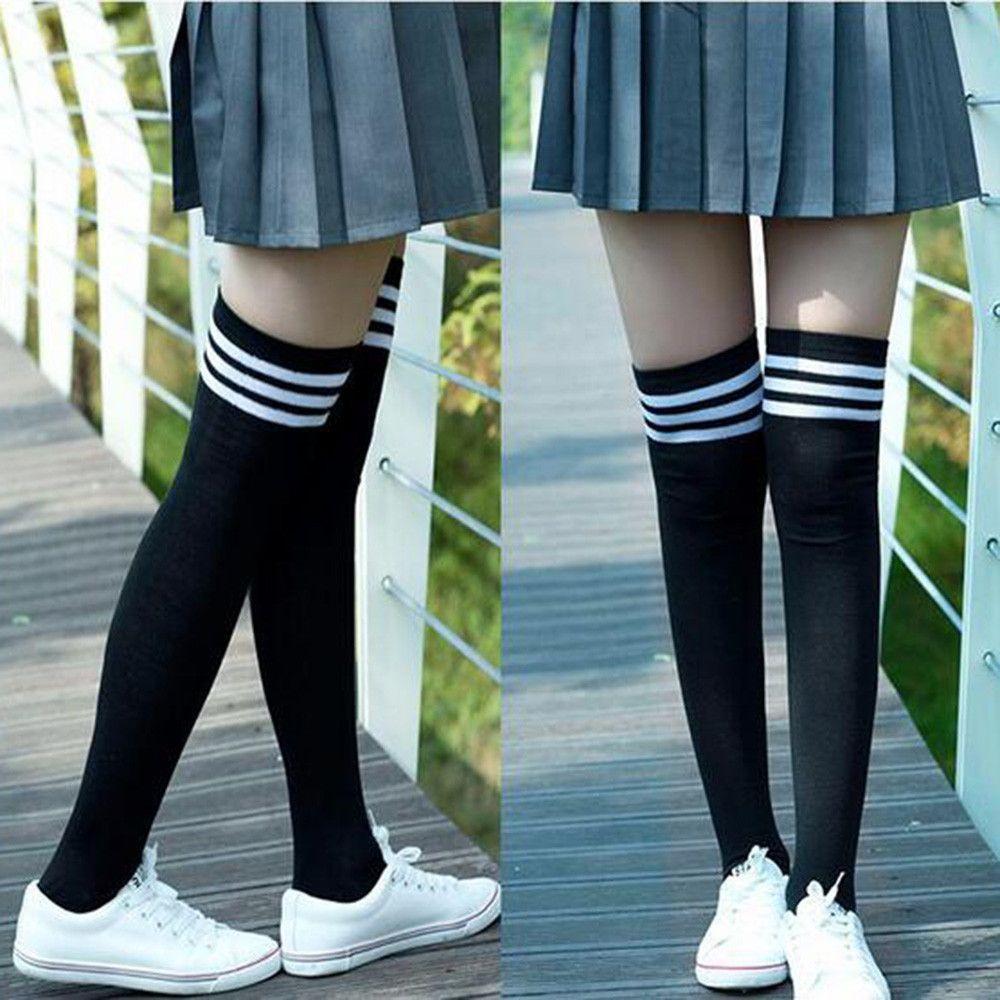 Девушки женская одежда нескользящая мода бедро над колено высокий колледж стиль носки 2020 горячая распродажа черный
