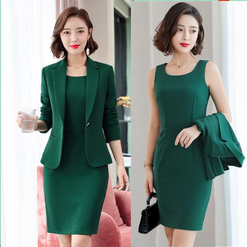 Blazer elegante ternos uniforme Mulheres de negócios Trabalho Office Lady Professional Dois Set terno de vestido Female Fashion 2020
