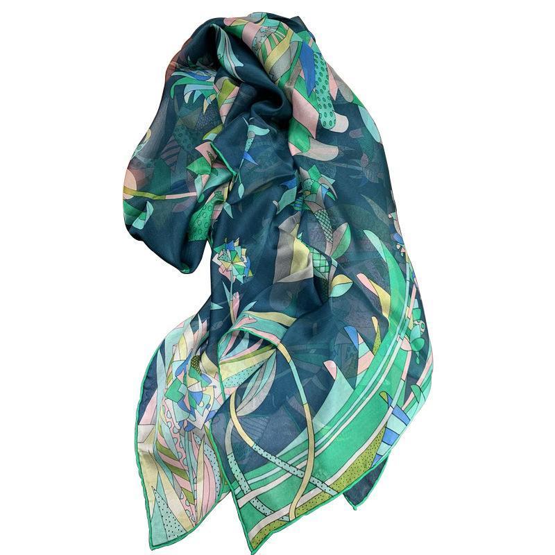 Moda- kms praia cachecol xale azul pavão mulberry-seda chiffon grande lenço quadrado xaile mão-rolado para menina senhora mulher