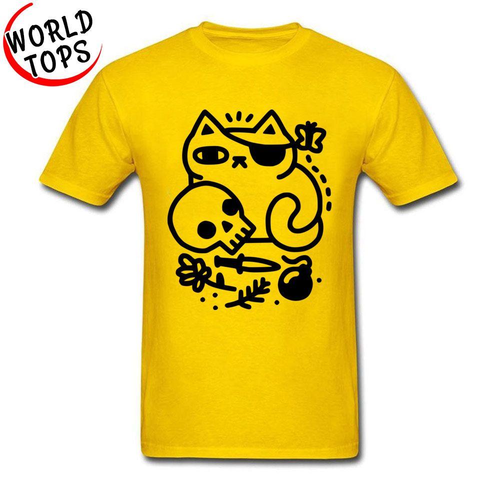 Christams Halloween Badass gatto giallo del fumetto per l'allievo camicia Fashion Design ragazzo divertente del cranio del fumetto Felpa con cappuccio da uomo T più nuovi