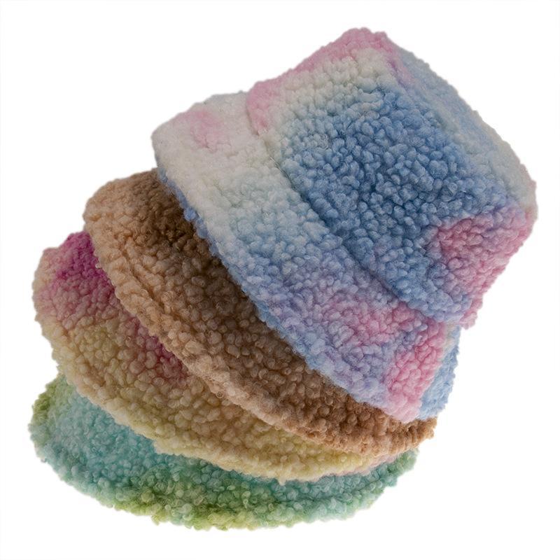 Lana de imitación del lazo de invierno tinte de cubo sombreros de las mujeres invierno gruesa caliente del casquillo del pescador al aire libre peludo colorido Panamá para Girl