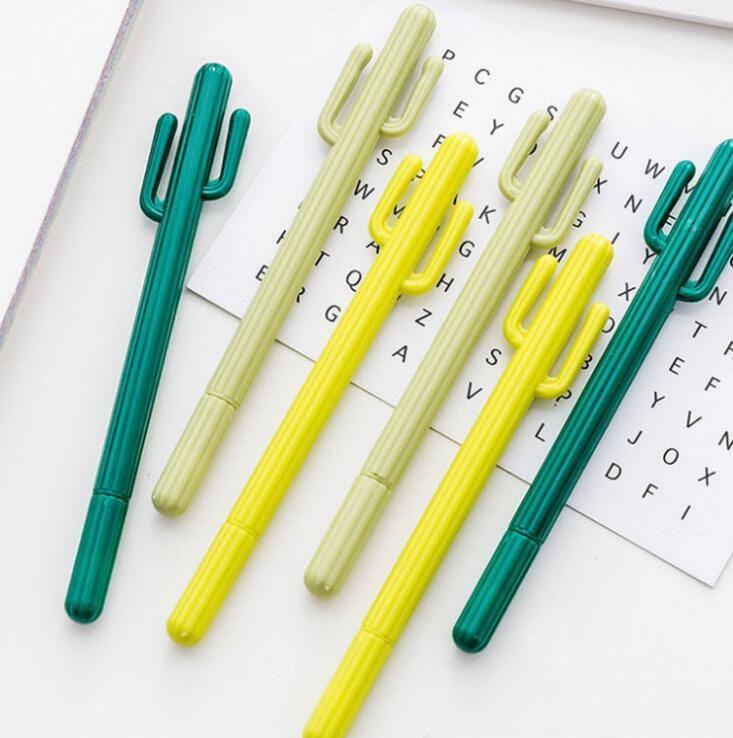 중립 펜 창조적 인 작은 신선한 사막 선인장 스타일링 펜 한국 문구 만화 귀여운 젤 학생 수성 펜 FWD2380