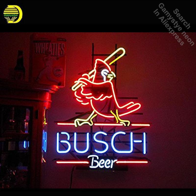 birra Busch della luce al neon reale tubo di vetro al neon illumina Ricreazione Professiona Iconic Sign Beer Bar Pub bordo segno Lampade 17x14
