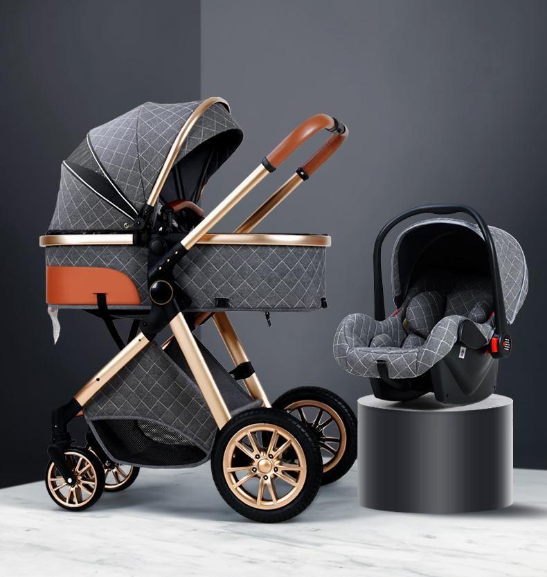 3 1 Bebek Arabası Lüks Yüksek Peyzaj Bebek Pram Taşınabilir Puset Kinderwagen Bassinet Katlanabilir Araba Yeni
