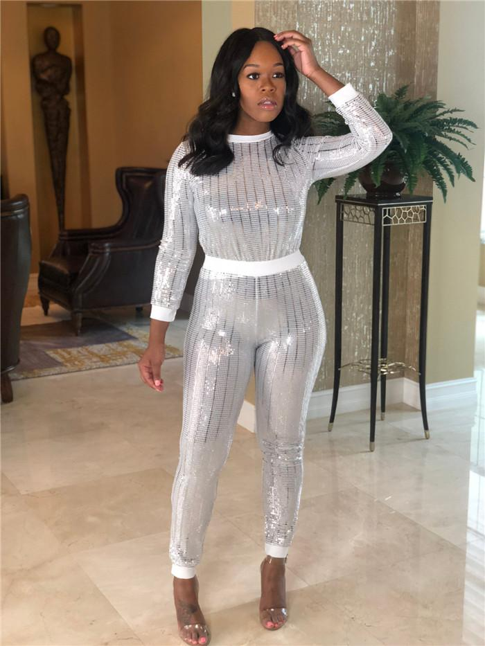 Sequins Sexy Two Piece Sets Womens Bling Long Sleeve Striped T Shirts and Straight Pants Fashion Night Club Sets For Women