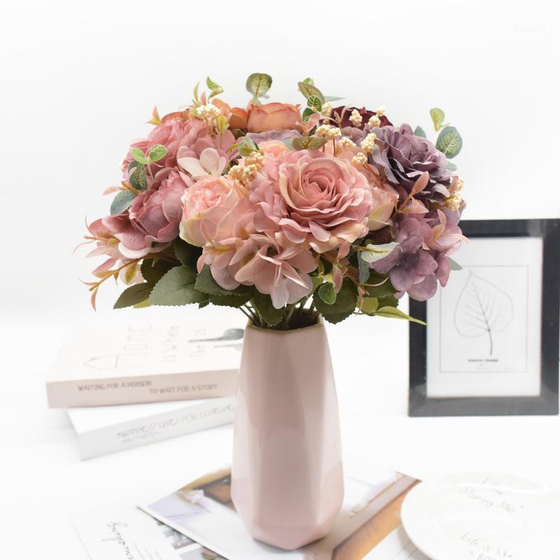 1 пучок искусственных цветов Высококачественный букет для украшения дома аксессуары DIY Свадебные принадлежности Фото реквизит HousePlant Gift1