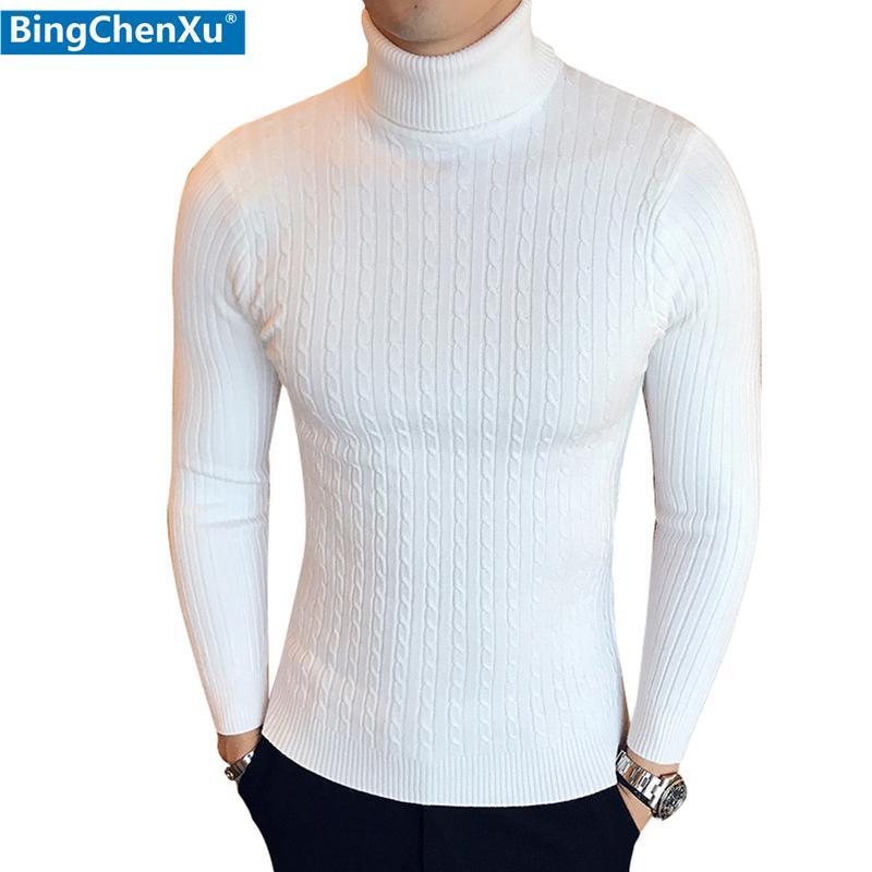 Мужские водолазку свитера и пуловеры Winter Casual Solid Вязаная водолазка шерстяной свитер мужской моде пуловер Homme 200929