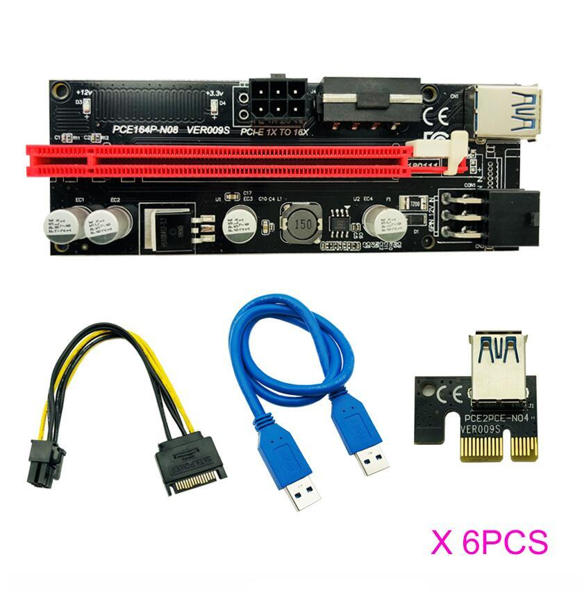 6pcs 최신 USB 3.0 PCI-E 라이저 Ver 009s Express 1x 4x 8x 16x Extender 라이저 어댑터 카드 SATA 15PIN 6 핀