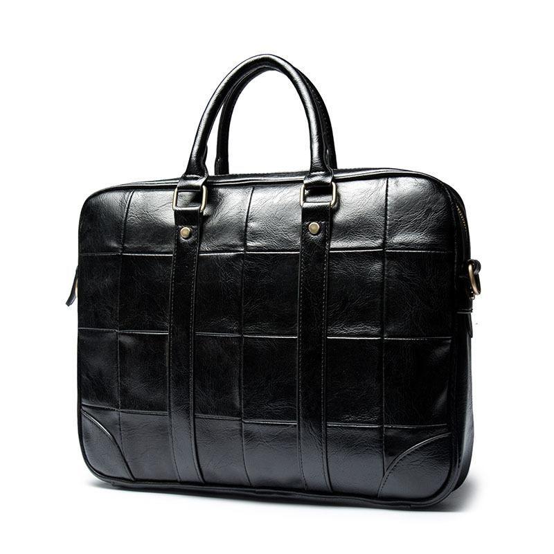 Fashion Men Waterproof Leather Briefcase Business Shoulder Bag Thick Leather Messenger Bag Office Laptop Handbag Daily Male Bags