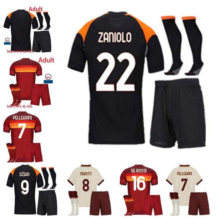 2021 جديد لكرة القدم جيرسي Zaniolo Roma Dzeko Pastore Kluivert 20 21 عالية الجودة قميص كرة القدم الرجال كيت الاطفال + الجوارب