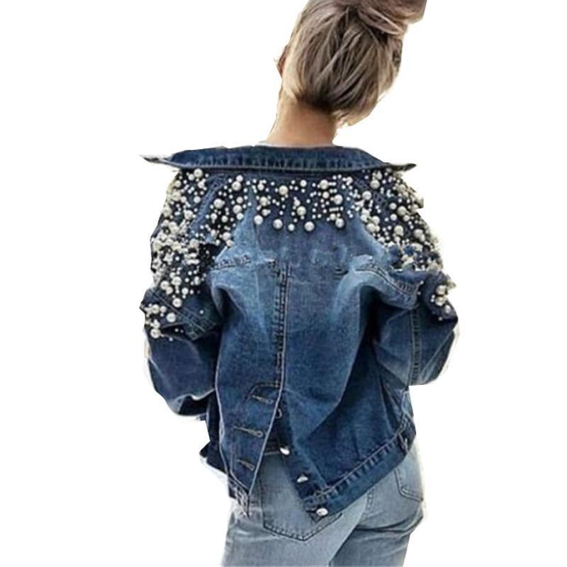 Pear Decor Curto Denim Jacket Mulheres Outono Inverno manga comprida jeans Tops coreano lazer Beads Joker Voltar Único Breasted T200930