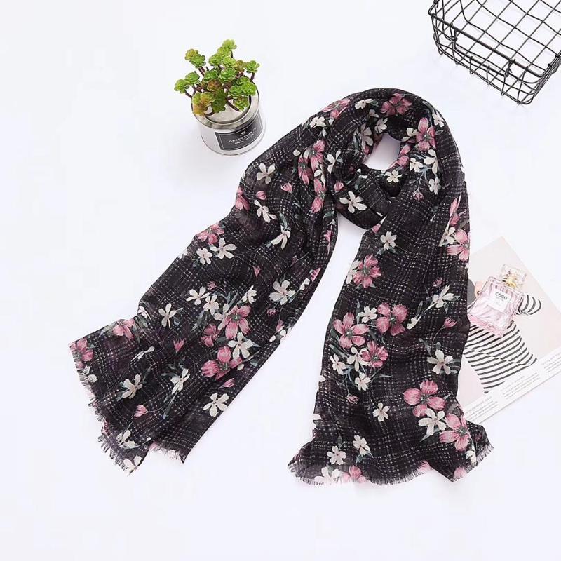 2021 Mode Blume Blüte Muster Schals Tücher Wrap Frauen Lange Voile Blume Strand Schal Hijab Stirnband Freies Verschiffen