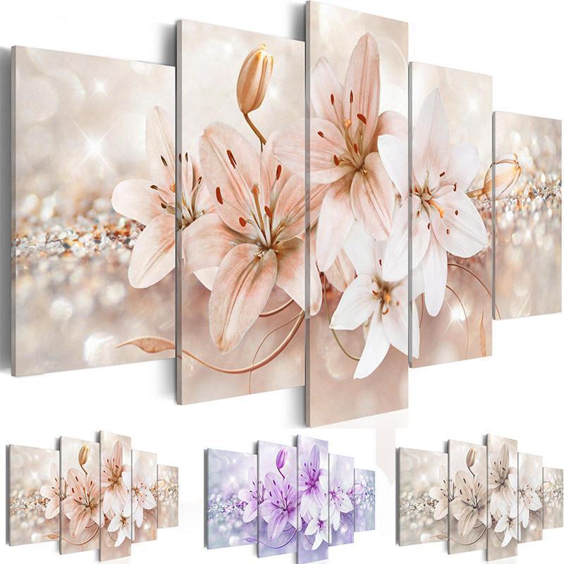 Lona fotos sala de estar casa decoração 5 peças lírio flor pintura modular impressão elegante colorido cartaz floral parede de parede de parede