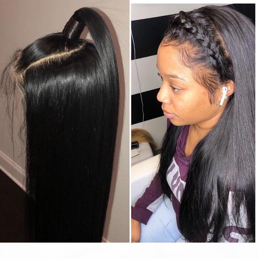 Seda Top Full Lace Wigs Prejogado com Cabelo Bebê Glueless Straight Virgem Brasileira Rendas Frontal Base de Seda Human Human Wig