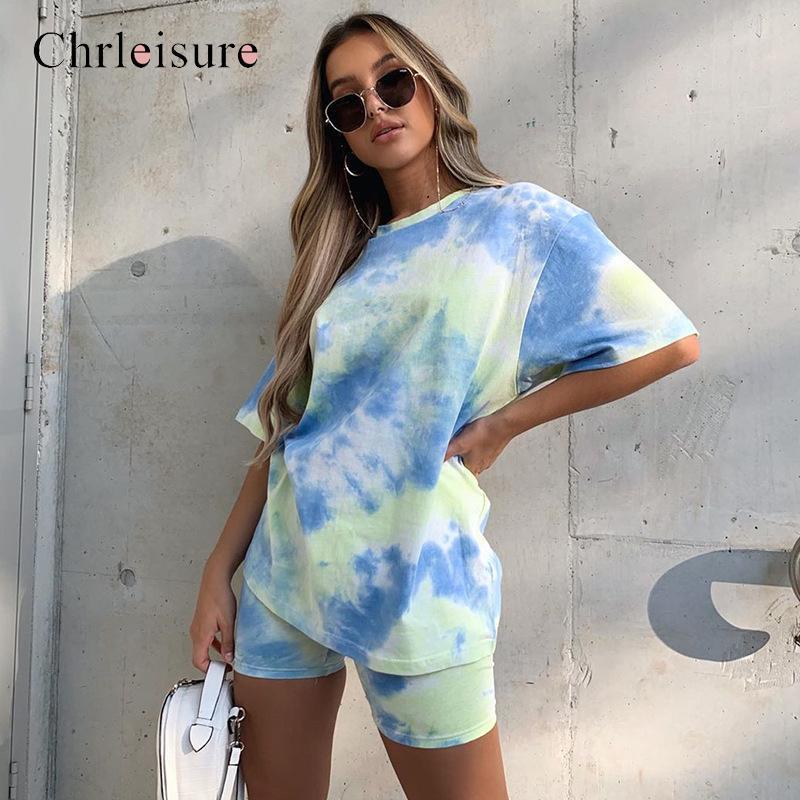 Tie Dye Imprimer T-shirt et un short deux pièces Set Femmes Casual Jogging Femme Tenues 2020 Summer Short taille haute C1108