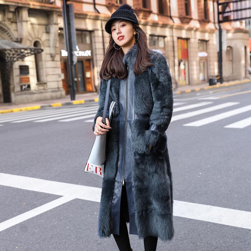 Zimowe kobiety długie naturalne owce Prawdziwa kurtka dwuwarstwowa futro luksusowy shearling płaszcz z prawdziwej skóry LJ98088 KJ3400