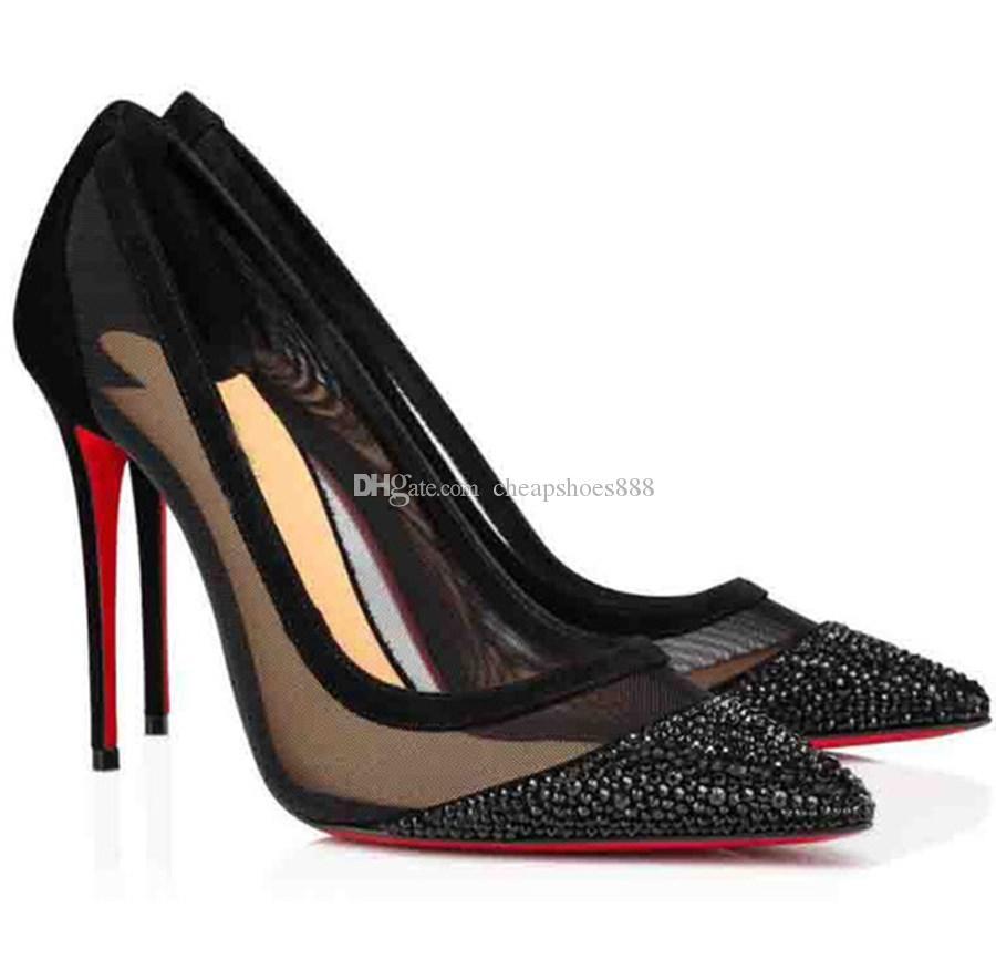 Verano sexy dama tacones altos mujeres vestido zapatos strass rojo inferior bomba boda fiesta negro desnudo súper calidad eu35-43
