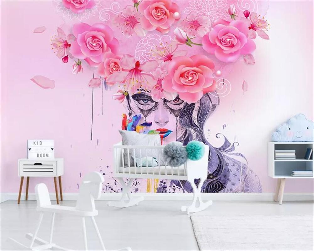 Beibehang personnalisé grand 3d mur papier peint de fond peinture à l'huile beauté sexy coloré floral moderne Graffiti tapeta