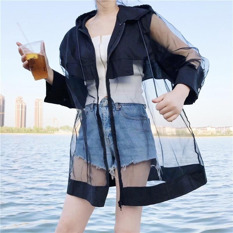 LANMREM autumn New Pattern Cardiagn Hooded Patchwork Mesh Hem Three Quarter Sleeve Thin Ladies Fashion Coat 201109