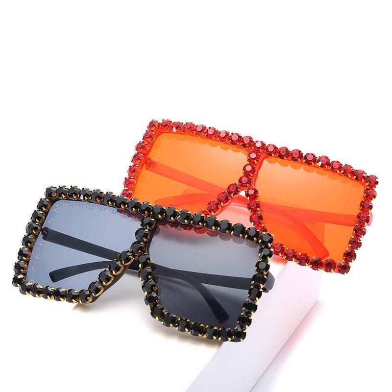 Gafas de sol Diamante 20crystal Transparente para las mujeres Rhinestone Marco de moda Shades de gran tamaño Sexy Gafas de sol UV400 Gafas Candy Mujeres UMDW