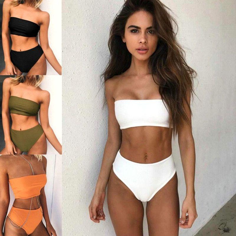Traje de baño de triángulo bikini multicolor sólido sexy
