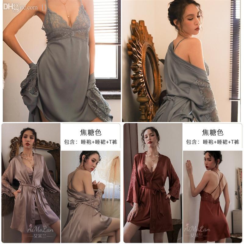 Daft Gowns Taille Femmes Sexy Lingerie Faux Femmes Stripe Robe Kid Kid Silk Fleur Modèle de peignoir Satiné Peignoir de peignoir Satiné Pyjamas Lovers Soie de glace Nigwear Nigwear
