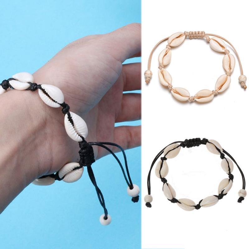 Заводская цена натуральные раковины очаровательные сплетенные браслеты для женщин BOHO Black Beach Beach Handmade Wax веревочка браслет J
