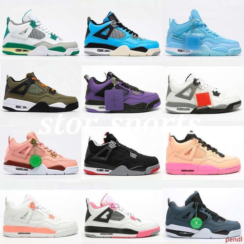 Tamaño 36-47 Jumpman 4 zapatillas de deporte Gato Negro Travis Cactus Jack Qué Bred El Neon Cool Gray salpicadura de 4s zapatos de diseñador para hombre de baloncesto femenino